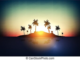 Tropical Island - Vector Illustration