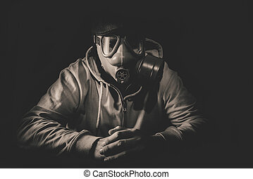 Scary man with mask - Portrait of scary man with gas mask,...