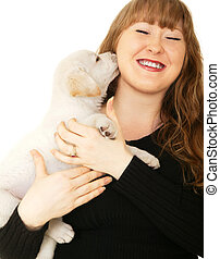 Caucasian Girl Playing With Puppy - caucasian girl playing...