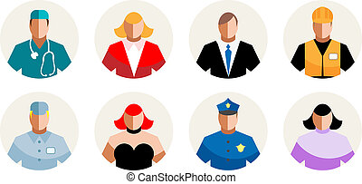8 Vector Icons diverse people, professions, staff