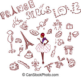 France, Paris, Love icons set, woman shopping, cafe, travel, Sightseeing