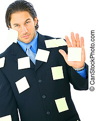 Angry Businessman With Many Post It