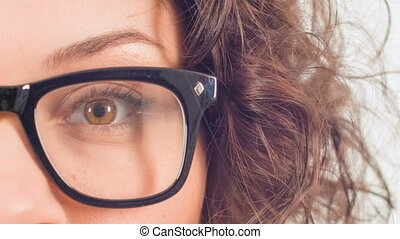 Young attractive woman is blinking occasionally. - Eye...