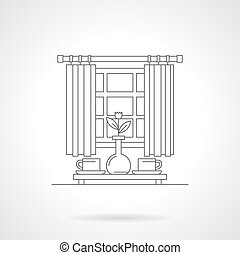 Morning tea time flat line vector icon - Table near a window...