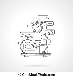 Exercise bike flat line vector icon