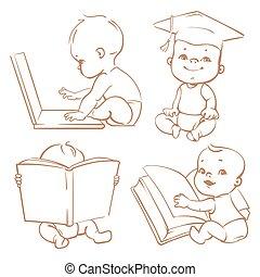 Cute little baby learning.