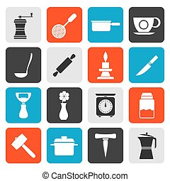 household tools icons - Flat Kitchen and household tools...