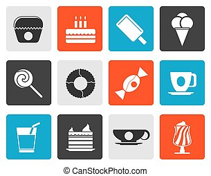 Sweet food and confectionery icons - Flat Sweet food and...