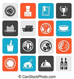 food and drink icons - Flat Restaurant, food and drink icons...