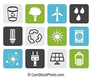 energy and nature icons - Flat Ecology, energy and nature...