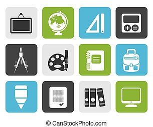 School and education icons - Flat School and education icons...