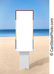 Empty vertical banner on the beach. Billboard isolated on...