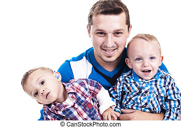 father twin boy - Young family father with twin boy