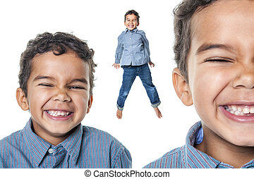Portrait of a cute african american little boy, isolated on whit
