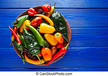 Mexican hot chili peppers colorful mix habanero poblano...