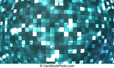 Broadcast Firey Light Hi-Tech Squares Globe, Blue, Abstract,...