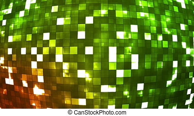 Broadcast Firey Light Hi-Tech Squares Globe, Green, Abstract, Loopable, HD