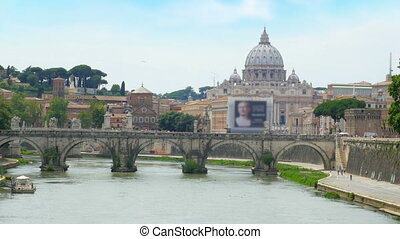 """city view with stone birdge, tiber river, rome, italy, 4k"""