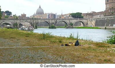 """immigrant sleeping on rome cityscape, refugee crisis,..."