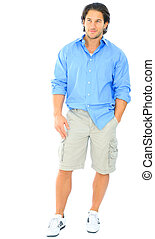 Handsome Youngman Standing - young male caucasian standing...