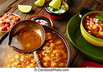 pozole,  México, grande, maíz, cocina, guisado, olla,  Mote