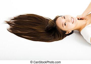 bonito, mulher, direito, jovem, longo, cabelo