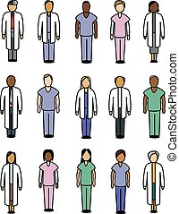 Medical People Icons - A collection of various stylized...