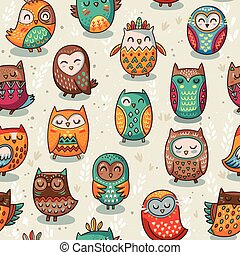 Seamless pattern with tribal owls