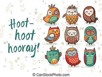 Owl tribal vector set - Hoot - hoot - hooray. Hand drawn...
