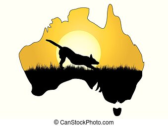 map of Australia with dingo - a map of Australia with dingo...
