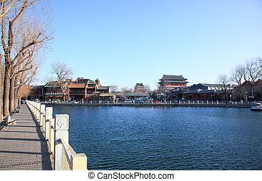 The Shi-sa-hai  lake in central Beijing China