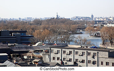 The aerial view of old city center of Beijing