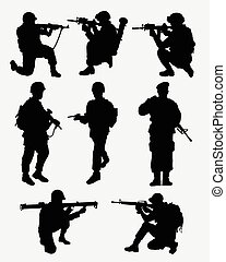 Army military action silhouettes - Army military training...