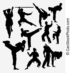 Karate sport silhouettes - Karate fight martial art Male and...
