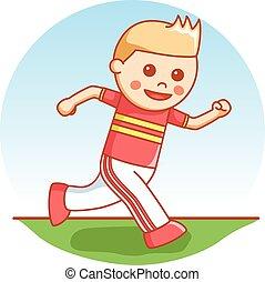 Boy runner cartoon illustration