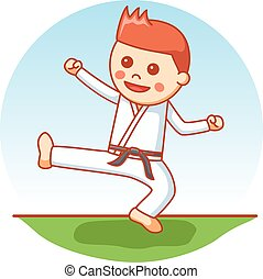 Karate boy cartoon illustration