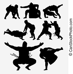 Sumo japanese sport silhouettes - Sumo japanese fighting...