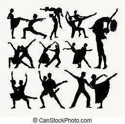 Couple dancer silhouettes