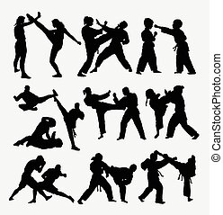 people fighting silhouettes - People fighting, duel martial...