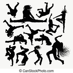 People dance pose silhouettes