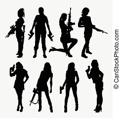 Woman and gun silhouettes. Good use for symbol, logo, icon,...