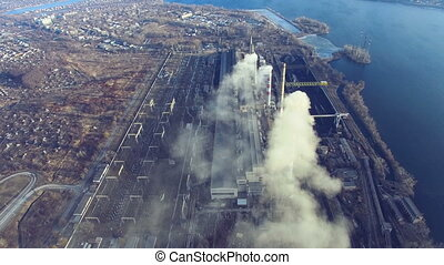 Flight over the thermal power plant TPP