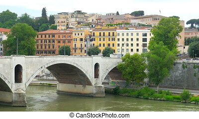 """traditional apartments on tiber river, rome, italy, 4k"" -..."