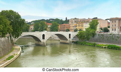 quot;traditional apartments on tiber river, rome, italy,...