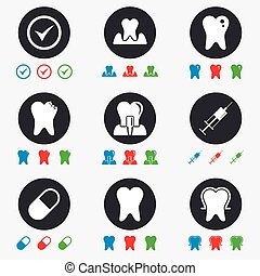 Tooth, dental care icons Stomatology signs - Tooth, dental...