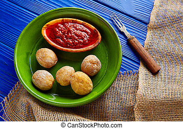 Papas arrugas al mojo wrinkled potatoes Canary islands...