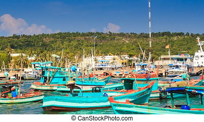 Closeup View of Vietnamese Fishing Boats in Bay - closeup...
