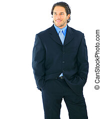 Successful Young Businessman - shot of isolated smiling...