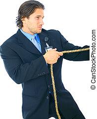 Struggling Businessman Pulling Rope