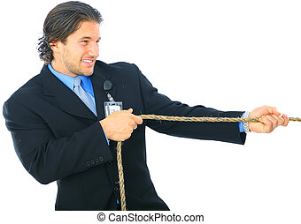 Struggle Young Man Pulling Rope - young male businessman...